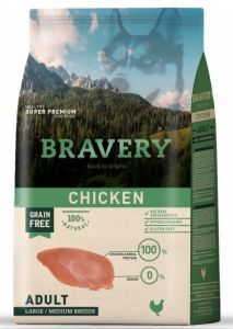 BRAVERY dog ADULT Large / Medium Grain Free chicken 12kg