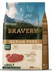 BRAVERY dog ADULT Large / Medium Grain Free Iberian pork 12kg