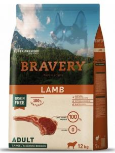 BRAVERY dog ADULT Large / Medium Grain Free lamb 12kg