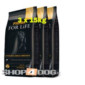 Fitmin Dog FOR LiFE junior large 3x15kg + Perfecto Dog Masové plátky (20ks/200g) ZDARMA