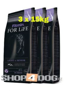 Fitmin Dog FOR LiFE senior/light 3x15kg + Perfecto Dog Masové plátky (20ks/200g) ZDARMA