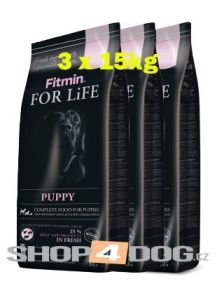 Fitmin Dog FOR LiFE puppy 3x15kg + Perfecto Dog Masové plátky (20ks/200g) ZDARMA