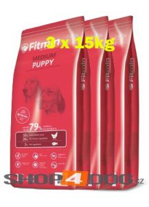 Fitmin Dog Medium Puppy 3x15kg + Pochoutka 250g ZDARMA