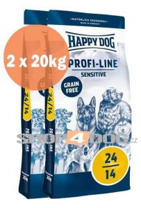 Happy Dog 24-14 SENSITIVE Grain Free 20+20kg + Sušené maso 75g ZDARMA