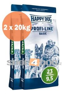 Happy Dog Profi-Line 23/9,5 Basic 20+20kg + Sušené maso 75g ZDARMA