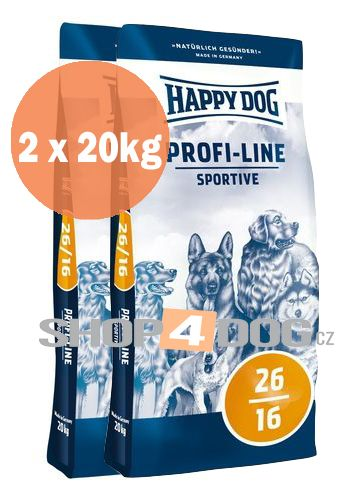 Happy Dog Profi-Line 26/16 SPORTIVE 20+20kg + Sušené maso 75g ZDARMA