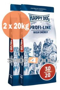 Happy Dog Profi-Line 30/20 High Energy 20+20kg + Perfecto Dog Masové plátky (20ks/200g) ZDARMA