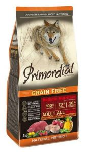 Primordial Pet Food PGF Adult Buffalo & Mackerel 12kg + Sušené maso Magnum  80g ZDARMA