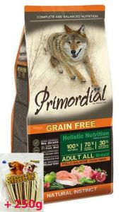 Primordial Pet Food PGF Adult Chicken & Salmon 12kg + Sušené maso Magnum  80g ZDARMA