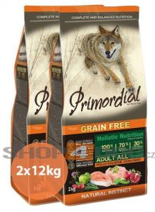 Primordial Pet Food PGF Adult Chicken & Salmon 2x12kg + Sušené maso 75g ZDARMA
