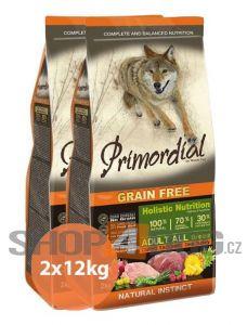 Primordial Pet Food PGF Adult Deer & Turkey 2x12kg + Pochoutka Magnum 80g ZDARMA