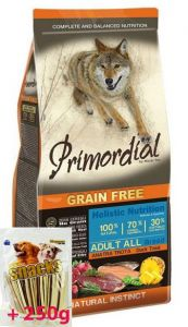 Primordial Pet Food PGF Adult Trout & Duck 12kg + Sušené maso Magnum  80g ZDARMA