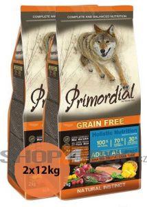 Primordial Pet Food PGF Adult Trout & Duck 2x12kg + Sušené maso Magnum  80g ZDARMA