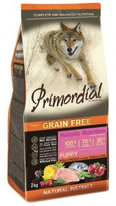 Primordial Pet Food PGF Puppy Chicken & Sea Fish 12kg + Sušené maso Magnum  80g ZDARMA