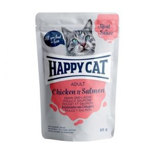 Happy Cat Kapsička Meat in Sauce Adult Chicken & Salmon 85g