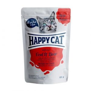 Happy Cat Kapsička Meat in Sauce Adult Veal & Liver 85g