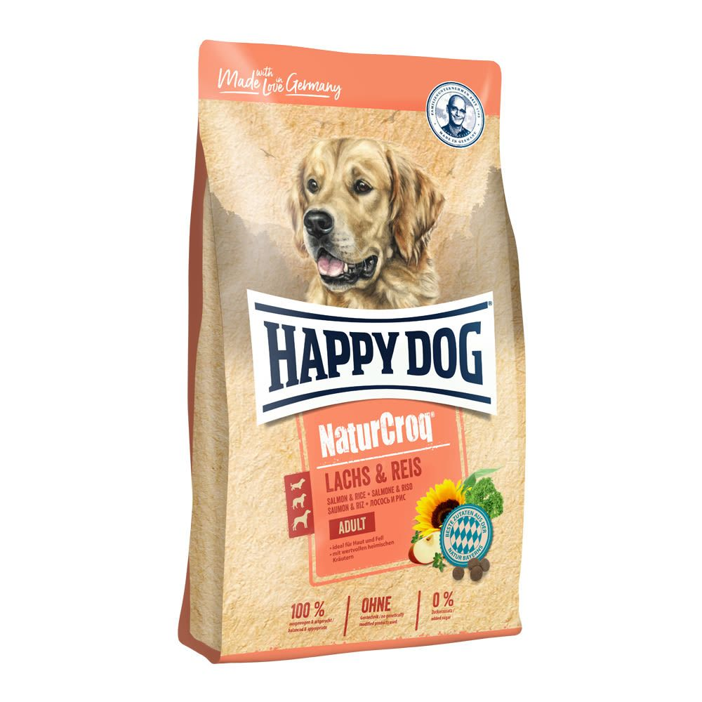 HAPPY Dog NaturCroq LACHS & REIS 2x12 kg