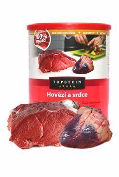 Topstein Hovězí a srdce v plechu 8x800 g Topstein Pet Foods
