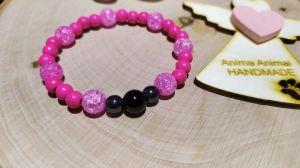 Náramek - Růžový tyrkys, práskaný křišťál, hematit a onyx