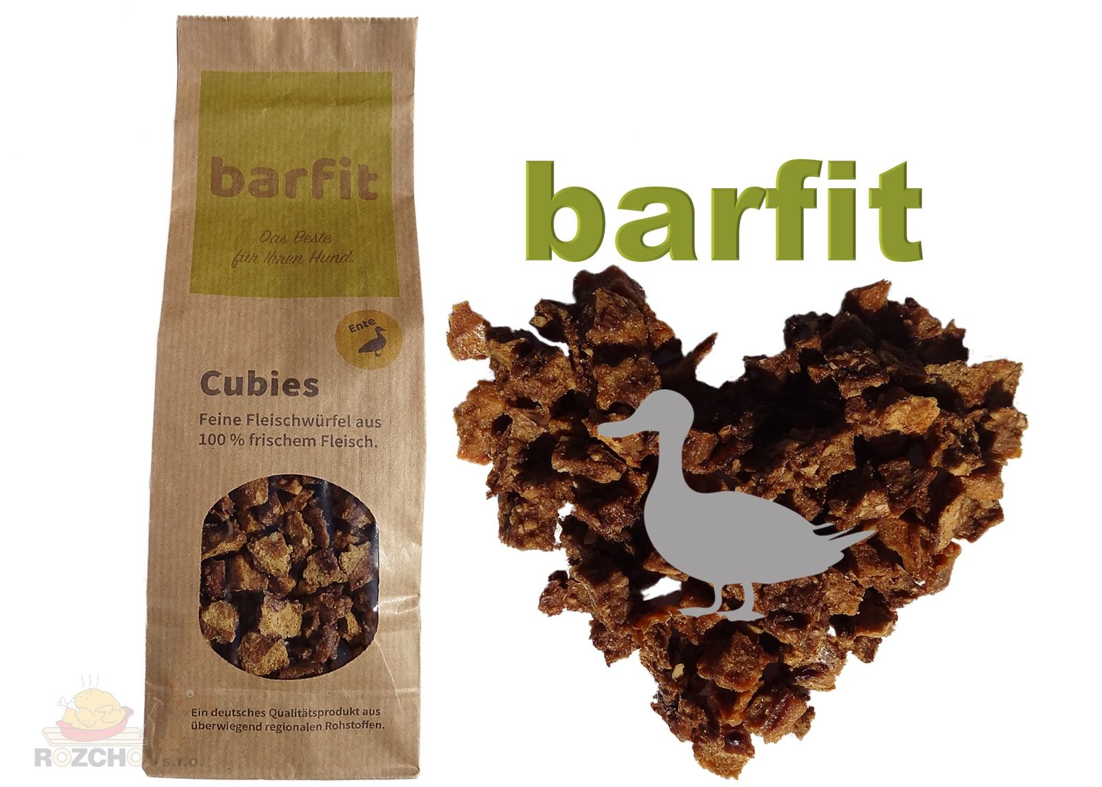 BARFIT sušené kostky masa 100% clear - kachna 200g Wallitzer