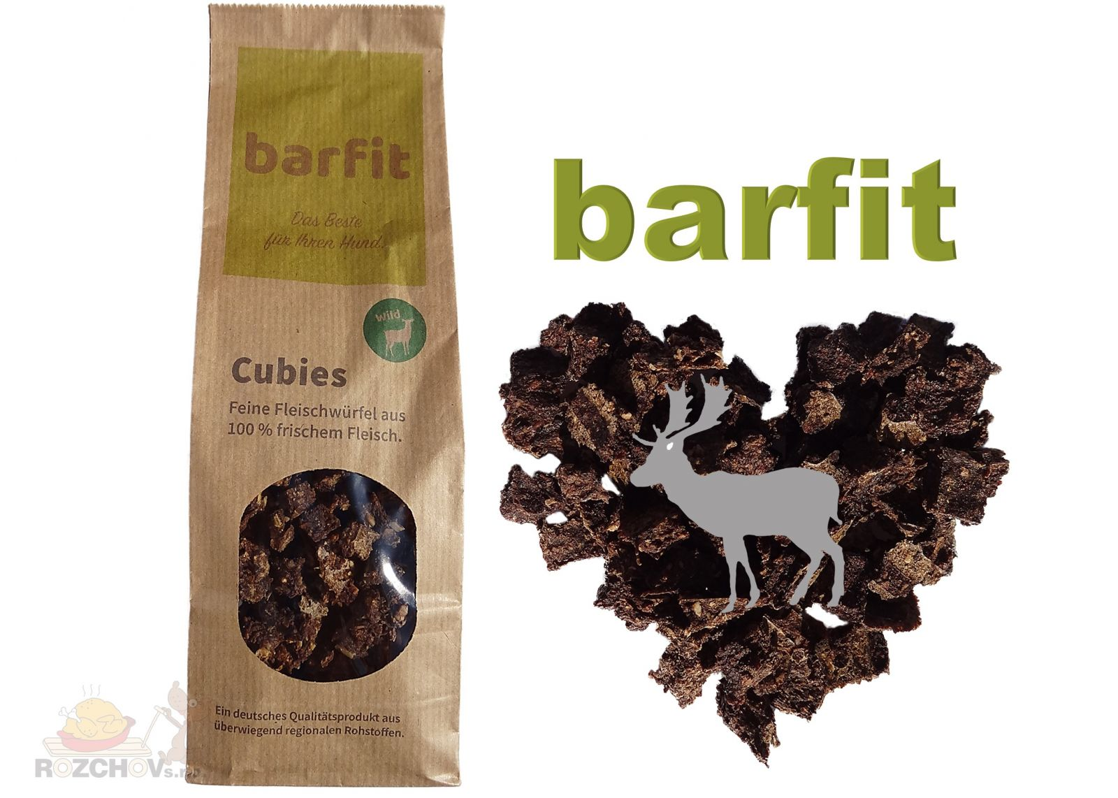 BARFIT sušené kostky masa 100% clear - zvěřina 200g Wallitzer