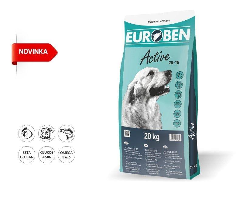 EUROBEN 28-18 Active 20kg + Sušené maso 75g ZDARMA Happy Dog