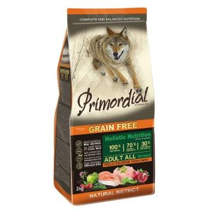 Primordial Pet Food PGF Adult Chicken & Salmon 12kg + Pochoutka 250g ZDARMA